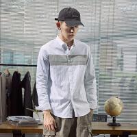 【限时抢购】唐狮秋装新品男都市青年时尚拼接长袖衬衫潮流上衣Z