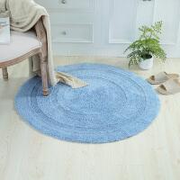 蓝色地垫圆形电脑椅子脚垫卧室床边地毯茶几垫子色吸水垫 100*100cm送防滑垫