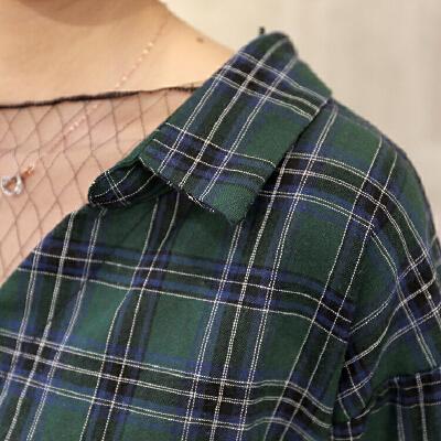 韩观韩国简约风港味复古波点透视网纱拼接假两件宽松长袖格子衬衫女潮SN160  均码