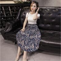 半身裙年春季长裙印花时尚潮流优雅气质雪纺