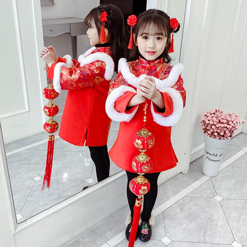 女童棉衣中国风旗袍唐装宝宝拜年服儿童汉服冬装