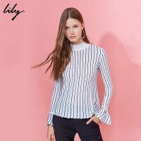 【每满200减100】Lily2018冬新款女装竖条纹显瘦毛衣半高领修身毛衣117429B8928