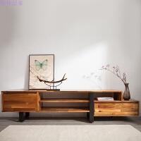 小院北欧客厅储物柜可伸缩电视柜工业风Loft家具全实木小户型 整装