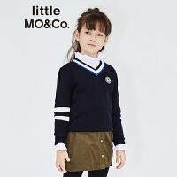 littlemoco中大童男女童装撞色V领刺绣Logo休闲羊毛衫KT1633SWT01