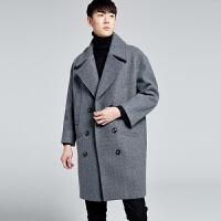 ulzzang秋冬男士毛呢大衣韩国宽松大风衣双排扣长款呢子外套加棉