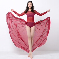 瑜伽舞蹈服套装女演出瑜伽服飘逸纱裙连体服拉丁舞团体表演服