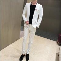 秋新款夜店潮男修身韩版外套青年帅气休闲小西装套装发型师两件套
