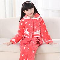 秋冬季女童装宝宝珊瑚绒家居服套装厚款三层夹棉法兰绒儿童睡衣 如图