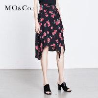 MOCO夏季新品中腰印花不规则裙摆半身裙MA182SKT113 摩安珂