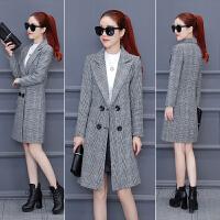 秋冬季新款韩版潮中长款格子加棉加厚风衣女修身毛呢外套大衣