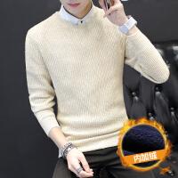 男士毛衣韩版圆领长袖针织衫加绒加厚冬季外套潮流个性毛线衣保暖
