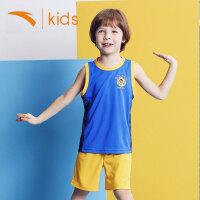 安踏童装男童篮球服小童背心短裤套装夏季2019新款儿童夏装男