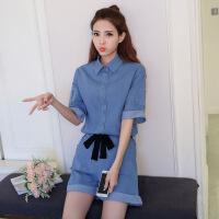 韩版纯色POLO领单排扣甜美时尚短袖2017年夏季连体裤短裤配腰带 蓝色