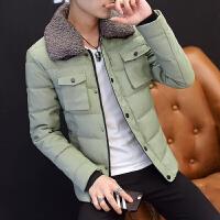 冬装新款棉袄男士潮流加厚毛领外套修身短款保暖青年韩版棉衣