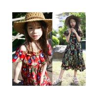 亲子装夏季新女童装一字肩碎花吊带连衣裙中大儿童沙滩裙度假长裙