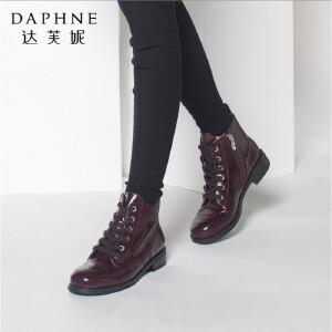 达芙妮正品女鞋冬季英伦时尚马丁靴圆头亮面粗低跟女靴子短靴