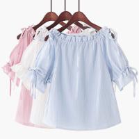 2018夏季新款韩版一字领露肩蝴蝶结系带泡泡袖雪纺娃娃衫短袖甜美