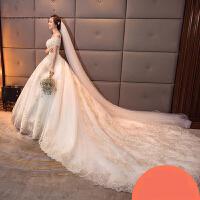 简约长拖尾孕妇婚纱礼服2017新款新娘一字肩韩式修身显瘦时尚 +头纱