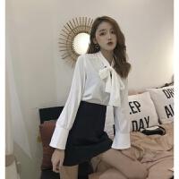 新款韩版秋季蝴蝶结V领宽松上衣长袖雪纺衬衫半身裙港风时尚套装