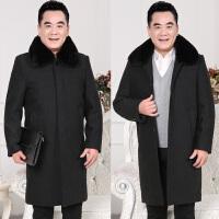 冬季中年男士呢子外套加绒加厚爸爸装中老年人男式中长款毛呢大衣