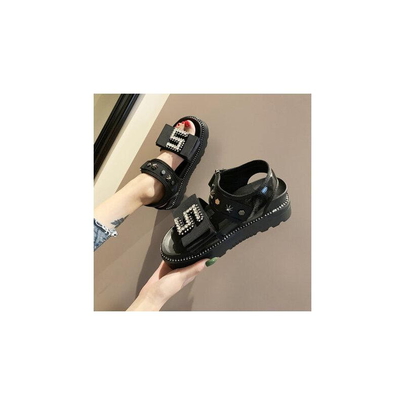 女士魔术贴休闲厚底凉鞋 新款水钻ins凉鞋女 时尚松糕罗马沙滩凉鞋女 品质保证 售后无忧