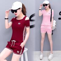 运动套装女夏季2018新款韩版时尚跑步学生显瘦短袖短裤休闲两件套