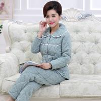 冬季加肥夹棉睡衣套装女加厚纯棉长袖韩版清纯妈妈款甜美可爱