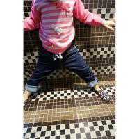 女童女宝宝条纹立体蝴蝶结纯棉针织衫套头毛衣