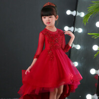 儿童婚纱演出服蓬蓬裙 花童礼服公主裙模特走秀女童生日拖尾晚礼服 酒红色