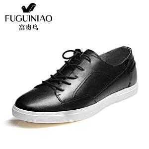 富 富贵鸟FUGUINIAO新潮头层牛皮富贵鸟男鞋日常生活鞋个性休闲鞋单鞋男