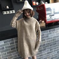 秋冬女装韩版高领毛衣女套头外套中长款宽松加厚冬季毛衣裙打底衫
