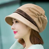 帽子女秋冬天时尚鸭舌贝雷帽韩版休闲百搭日系护耳保暖针织毛线帽