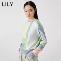 【5/26-6/1 一口价:239元】 LILY2020春新款女装时髦几何拼色宽松圆领毛针织衫120130B8737