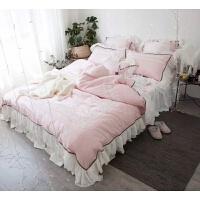家纺全棉60支长绒棉贡缎粉色蕾丝四件套纯棉纯色公主风床裙式床上用品 蕾丝粉