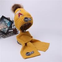 儿童帽子秋冬季男童毛线帽围巾套装女童加绒保暖套头帽毛球宝宝帽