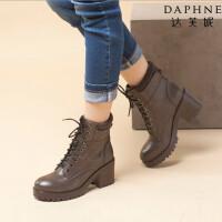 【年终狂欢】达芙妮女靴秋冬季时尚女鞋圆头粗高跟英伦风短靴系带英伦马丁靴