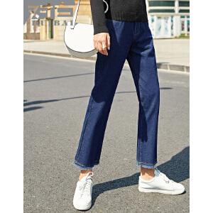 对白2017秋装新款 流苏毛边蓝色牛仔裤女 时尚简约水洗棉质直筒裤