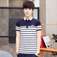 男士短袖t恤衬衫领半袖2韩版潮流修身翻领polo衫条纹短袖T恤