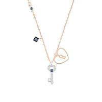 【网易考拉】【两用项链】SWAROVSKI 施华洛世奇 心形锁与钥匙 项链 玫瑰金色