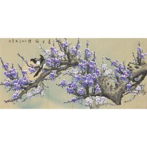 职业画家 王成喜《喜上眉梢》136cmx68cm