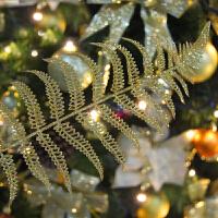 圣诞装饰品金叶子金色银色叶子圣诞装饰圣诞树挂件金粉叶子