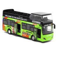 澳门双层观光大巴公交巴士车合金汽车模型儿童玩具回力声光车