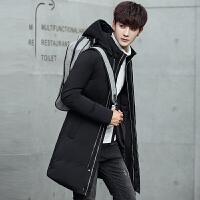 冬季加厚羽绒服男士青年中长款修身连帽大衣韩版学生白鸭绒外套潮