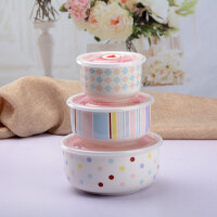 送筷子勺子陶瓷保鲜碗三件套微波炉饭盒保鲜盒套装泡面碗便当盒密封盒带盖可爱卡通碗具用具