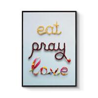 现代简约餐厅装饰画电影海报挂画创意字母设计*壁画恋爱与美食 70x100cm嵌框 单幅价格 黑色