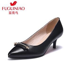 富贵鸟时尚女鞋子尖头中跟女鞋 细跟浅口单鞋女