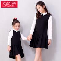 2018新款亲子装春夏季母女连衣裙韩版长袖假两件女童裙子黑色潮