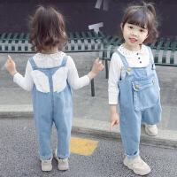 女童牛仔背带裤2019新款春装婴儿童4女宝宝3岁半牛仔裤子