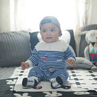 婴儿连体衣服纯棉女宝宝冬装男新生儿哈衣薄款0-3个月长袖春秋装1