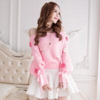 新款甜美可爱女装粉公主毛衣一字领露肩花朵蝴蝶结套头针织衫